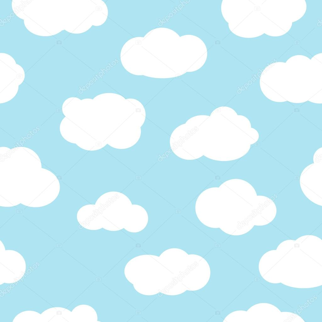 Blue sky with clouds seamless pattern vector.