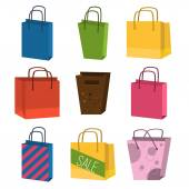 Colourful paper shopping bags isolated on white vector set.