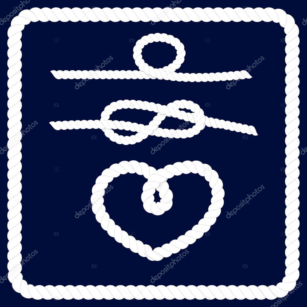 Conjunto de vector de marco cuerda náutica — Vector de stock ...