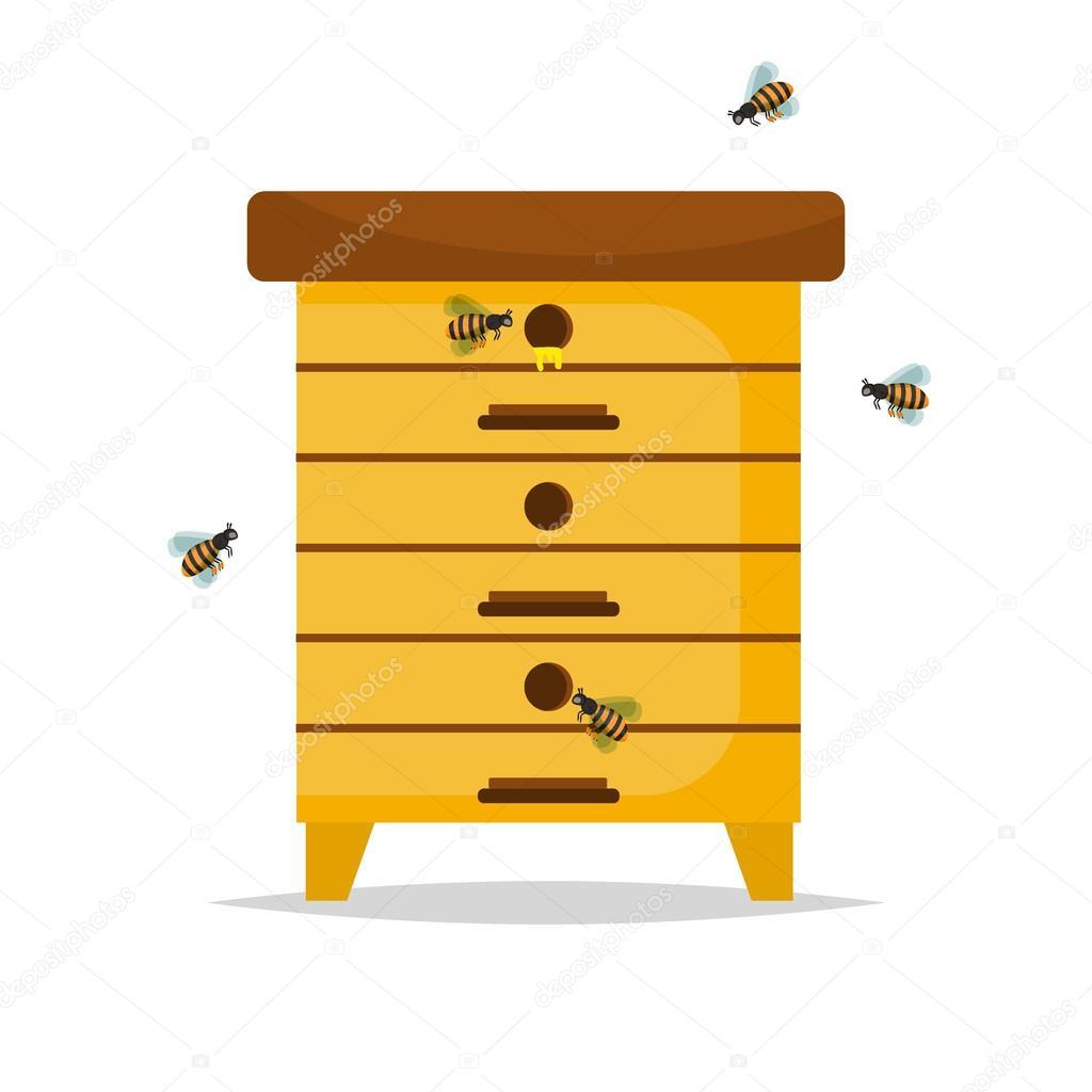 Ruche en bois sur fond blanc photographie danyliuki - Dessin de ruche d abeille ...