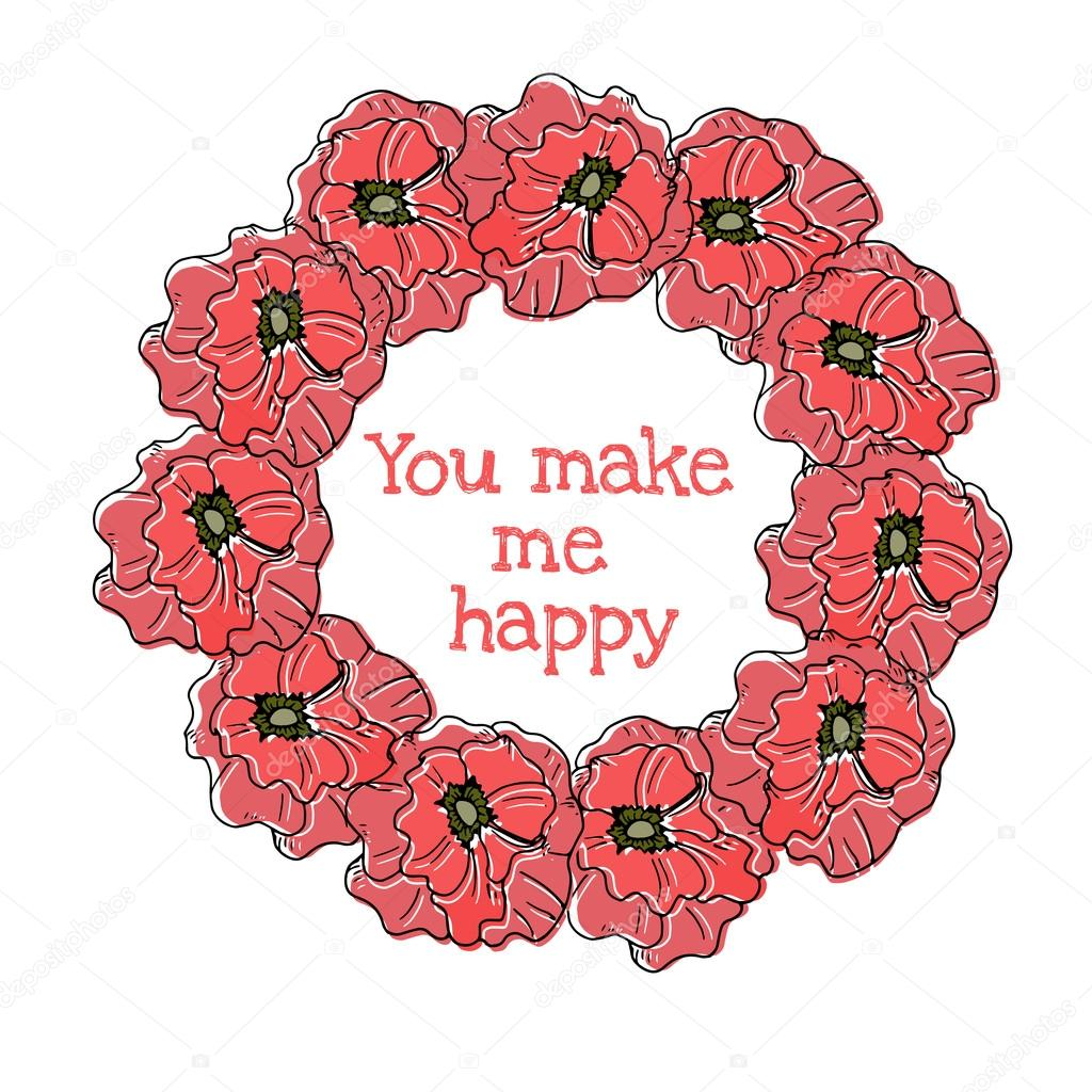 Vintage floral round frame poppies old style crown stock vector vintage floral round frame poppies old style crownntage red floral pattern background vector by danyliuki izmirmasajfo