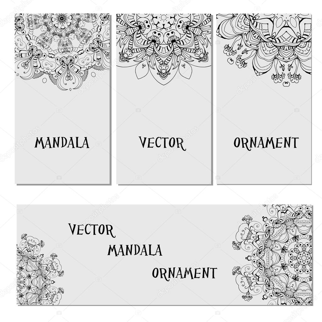 Set mandalas  business card. Round Ornament Pattern. Vintage decorative elements.