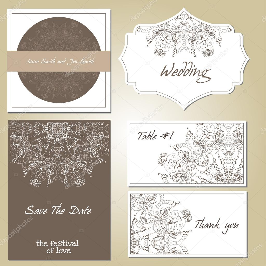 . Patterned zentangle background on marketing materials.
