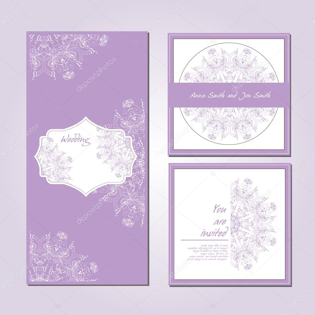 Wedding card collection, Patterned zentangle background on marketing materials.
