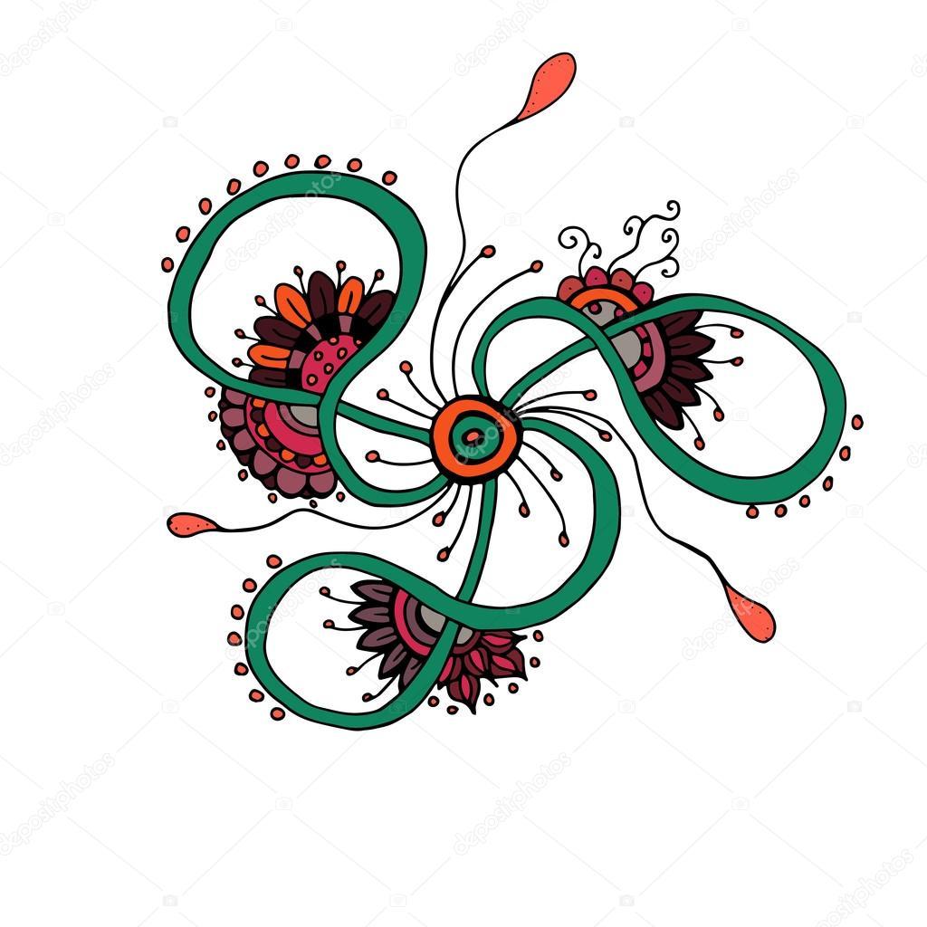 Mandala. Ethnic lace round ornamental pattern. Beautiful hand drawn flower.