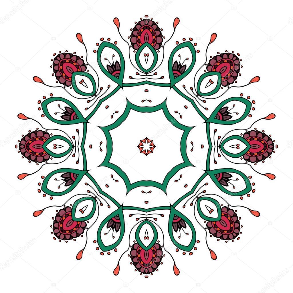 Mandala. Étnico cordón redondo Patrón ornamental. Flores dibujado ...