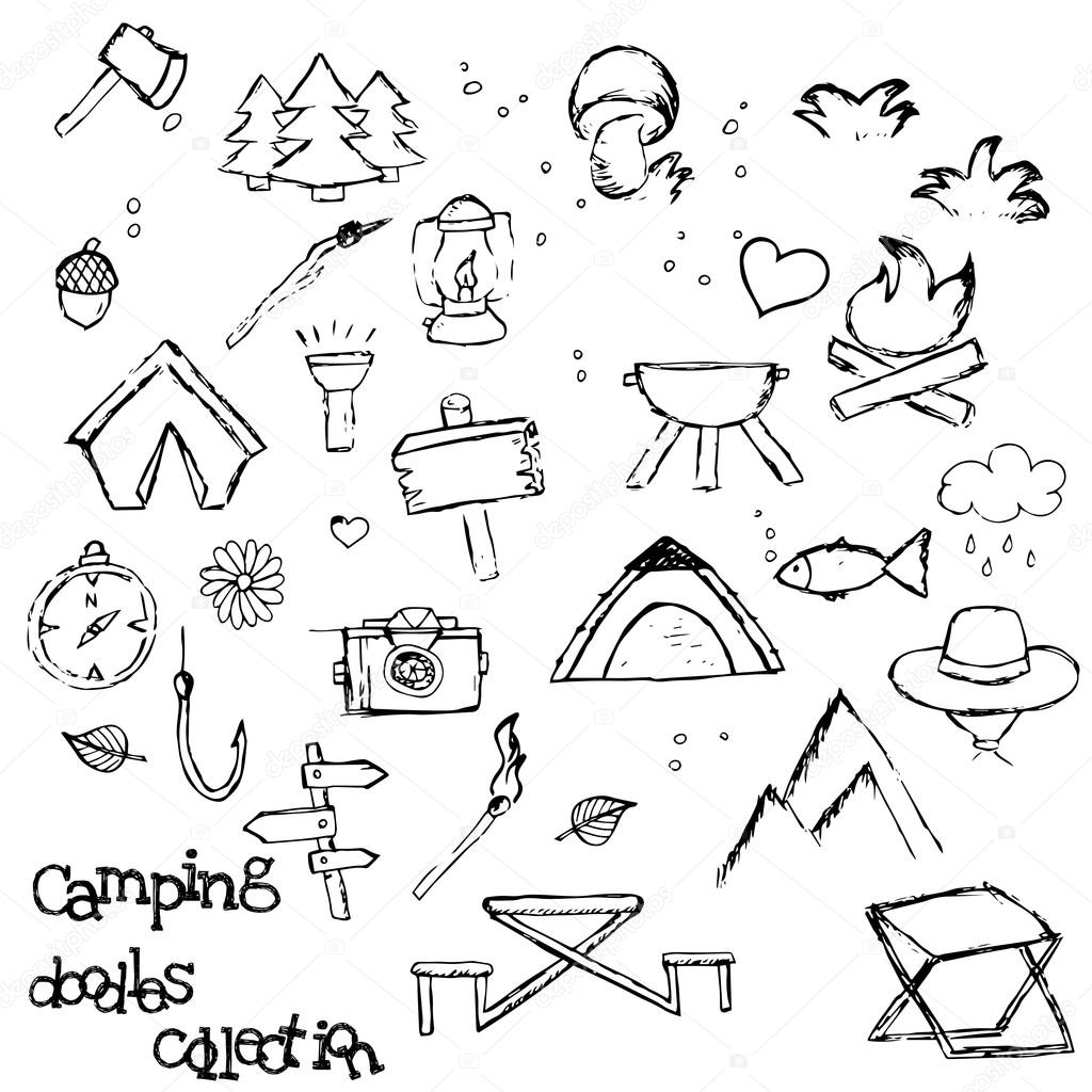 Camping - doodles collection.Vector banner templates set with ...