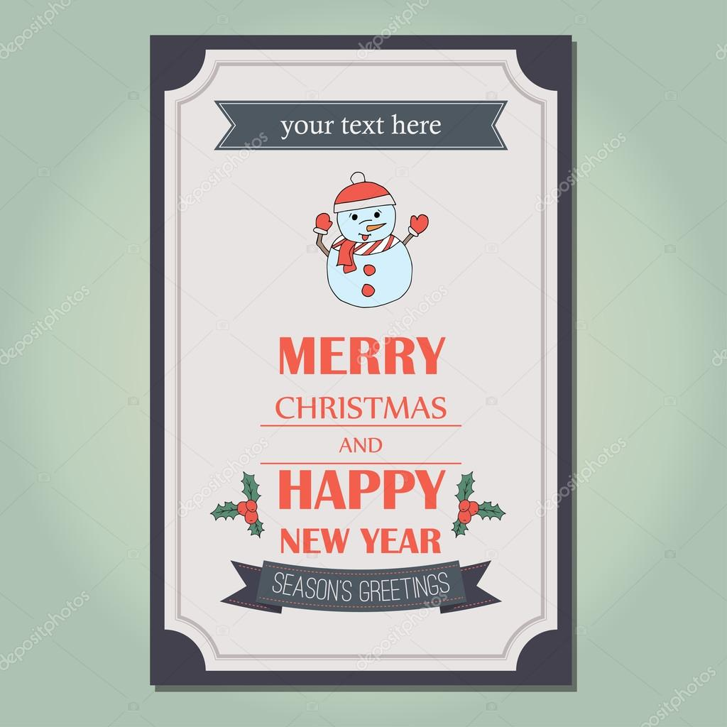 merry christmas invitation card ornament decoration background happy new year message holidays lettering on