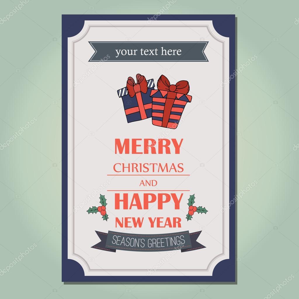 Merry christmas invitation card ornament decoration background merry christmas invitation card ornament decoration background vector illustration eps 10 happy new year message vetor por danyliuki stopboris Choice Image