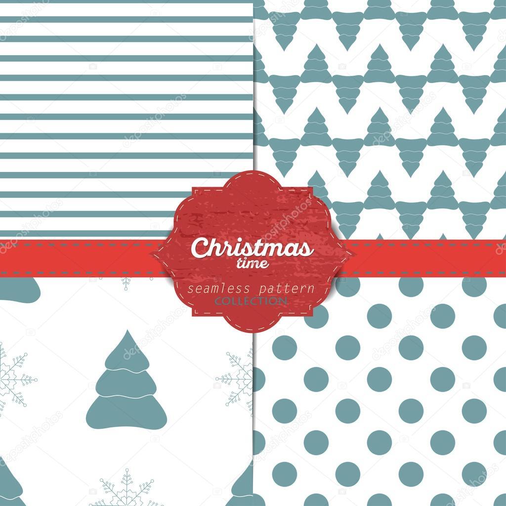 Satz von vektor weihnachten nahtlose Muster für Weihnachten Karten ...