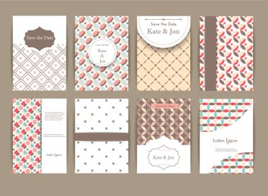 Set of Greeting card for Valentines day. Vintage and romantic backgrounds. Vector Design Templates Collection