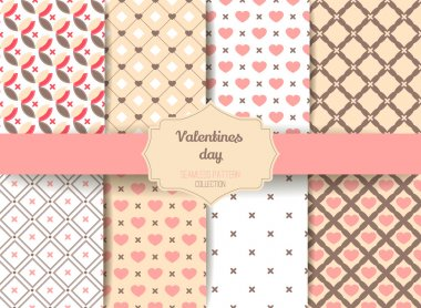 Set of Cute retro abstract seamless pattern.Perfect for decoration postcards, brochures, textiles or paper packaging.Ideal Save The Date, baby shower, valentines day, birthday cards, invitations