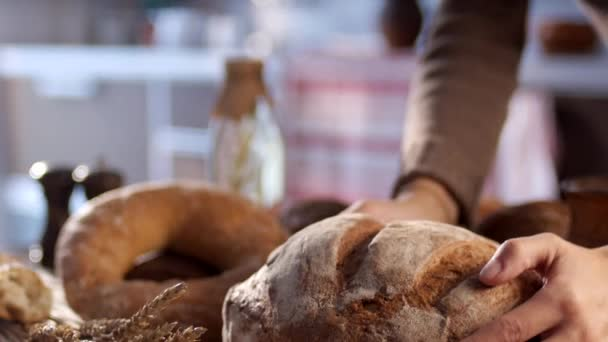 Female hands put bread