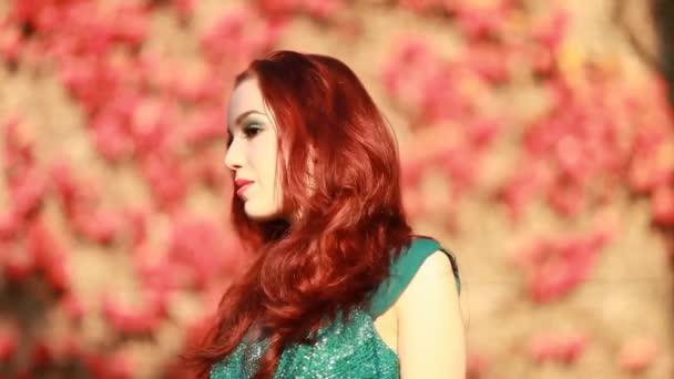 Krásné, elegantní žena v podzimní louka
