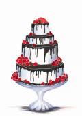 Svatební dort ilustrace, pozadí
