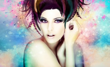 beautiful woman in a colorful artwork