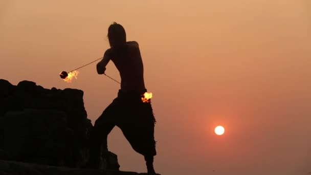 Male Artist with fire poi