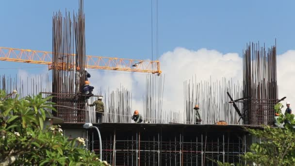Builders  working on skyscraper