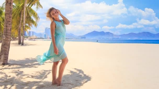 girl barefoot in light azure  frock