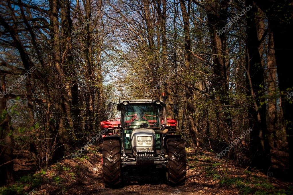 rural tractor  in spring