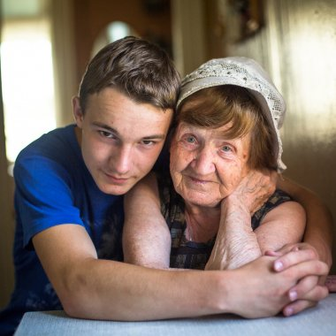 Grandmother and grandson.