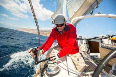 Sailor participate in sailing regatta