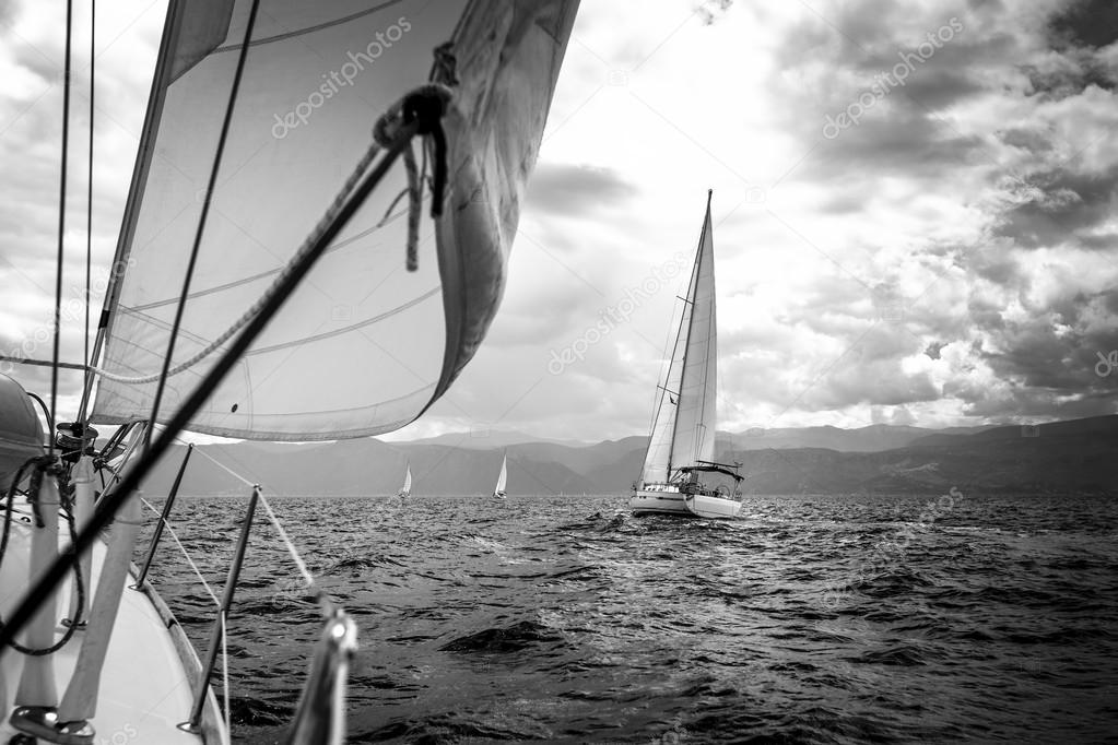 Sailing yachts in the sea