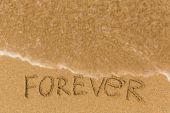 Navždy - nápis na písčité pláži
