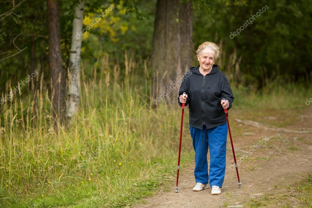 walking Elderly woman