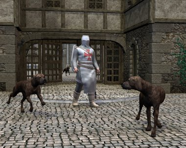 Templar Knight and Guard Dogs at a Castle Gate