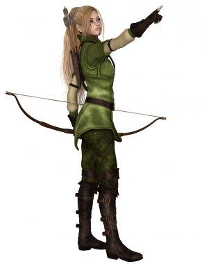 Blonde Female Elf Archer, Pointing