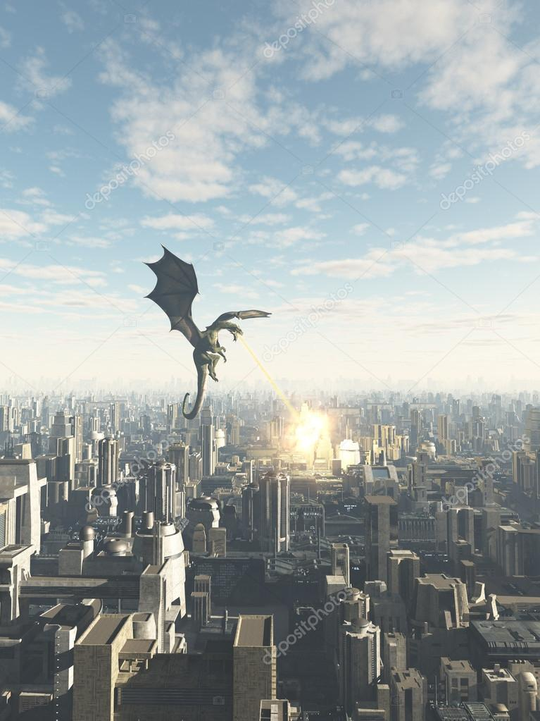 Dragon Attacking a Future City