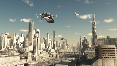 Scout Ship Landing in a Future City