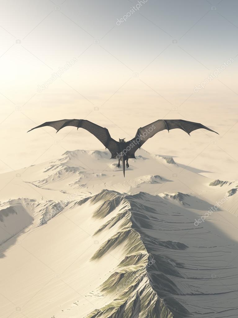 Grey Dragon Flight Over Snowy Mountains
