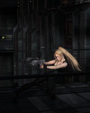 Blonde Sci-fi Heroine Fighting in a Dark City Street
