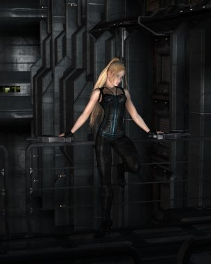 Blonde Sci-fi Heroine Standing in a Dark City Street