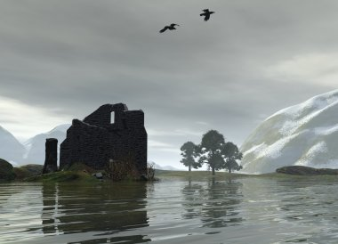 Ruined Castle on a Scottish Loch