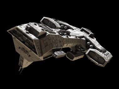 Spaceship on black - front side view