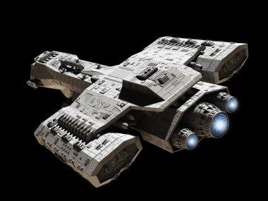 Spaceship on Black with Blue Engine Glow