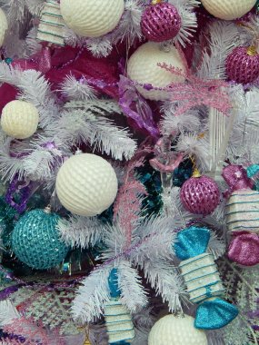 Christmas toys background. Close-up.International Specialized Trade Fairs
