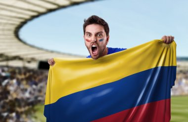 Fan holding the flag of Colombia