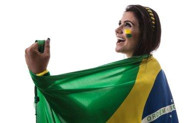 fan holding the flag of Brazil