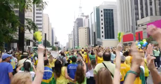 Protesters marching on Paulista Avenue