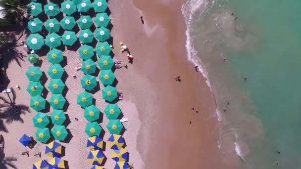 beach with umbrellas in Brazil