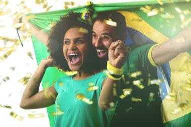 couple of fans celebrating