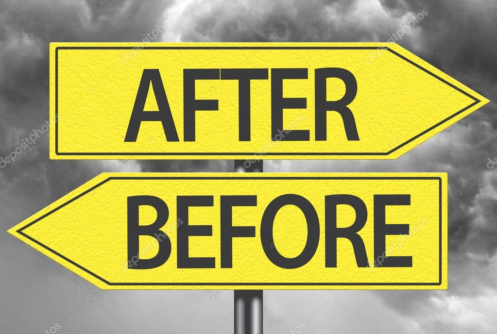 after and before yellow signs stock photo filipefrazao 119786820