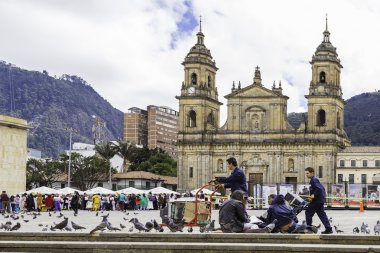 Bolivar Simon Square and the Cathedral in Bogota, Colombia