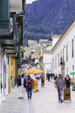 People walking in Candelaria Area in Bogota, Colombia