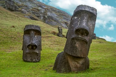 Moai standing in Easter Island