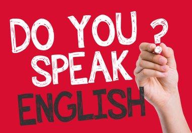 Do you speak English written on the wipe board